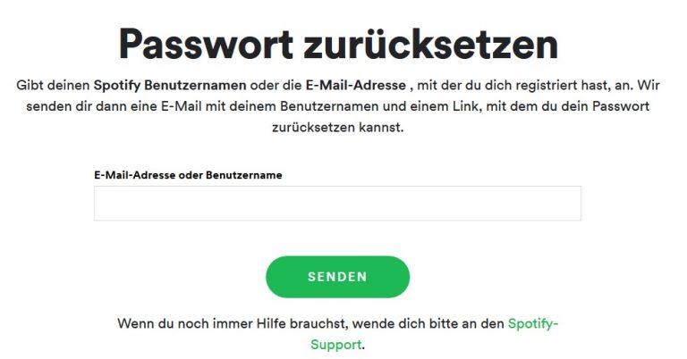 Spotify Passwort vergessen