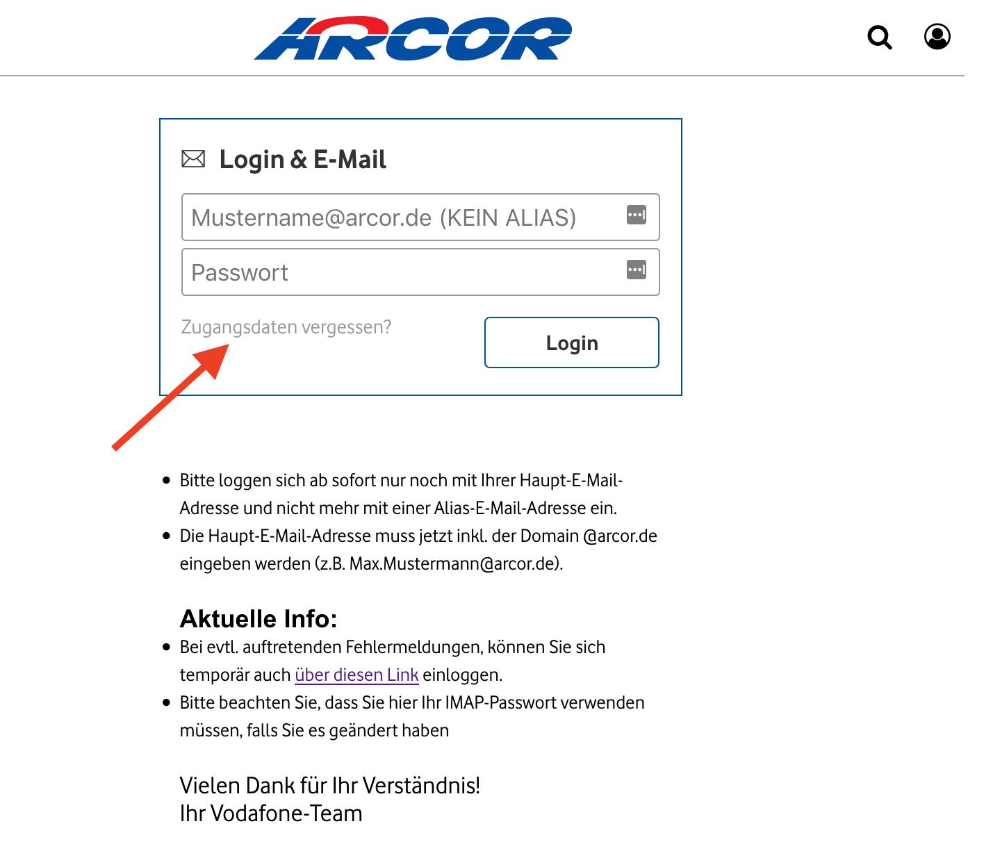 Arcor Login Passwort vergessen