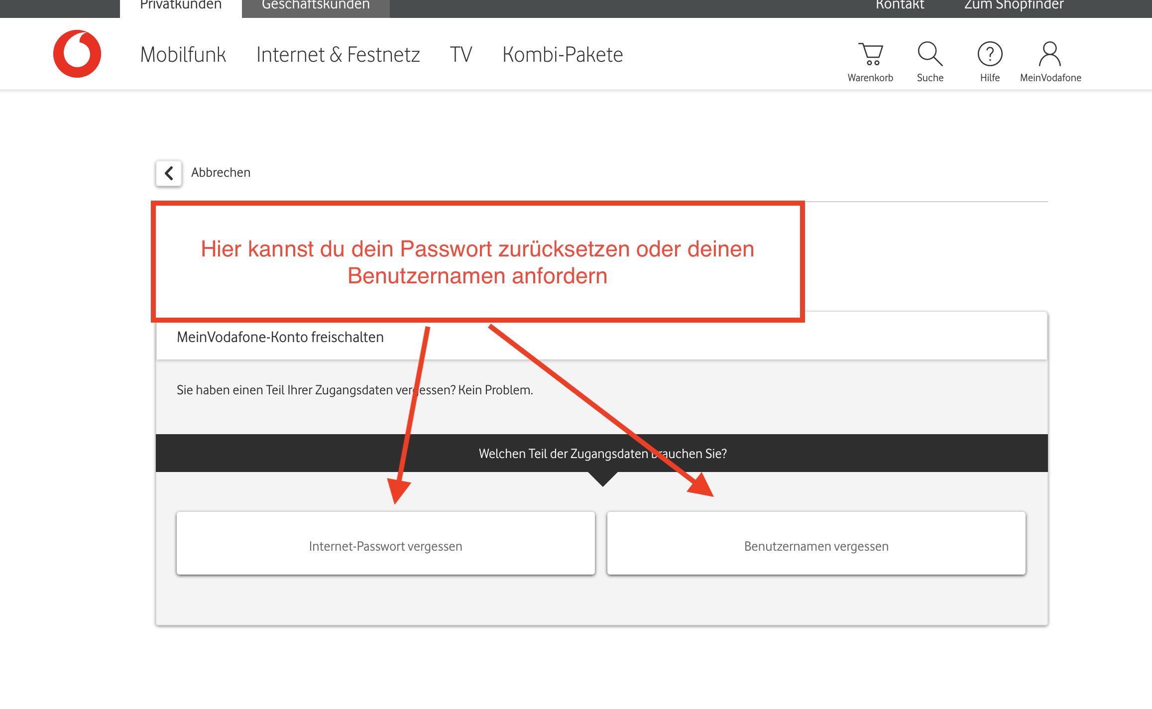 Arcor Passwort oder Benutzername vergessen