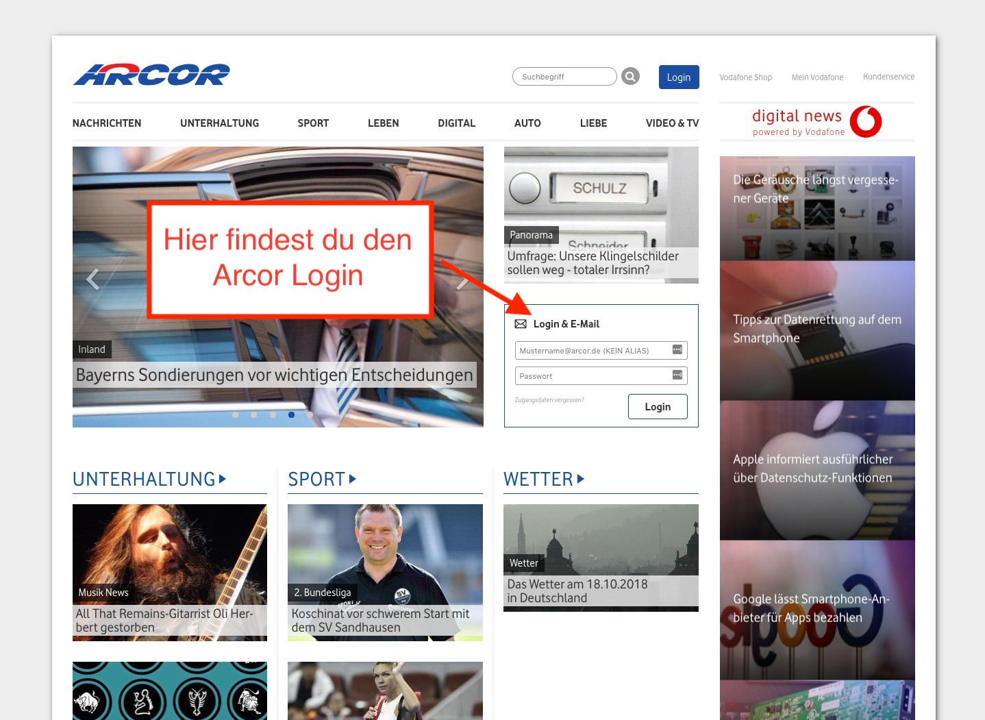 Arcor Login zum Account