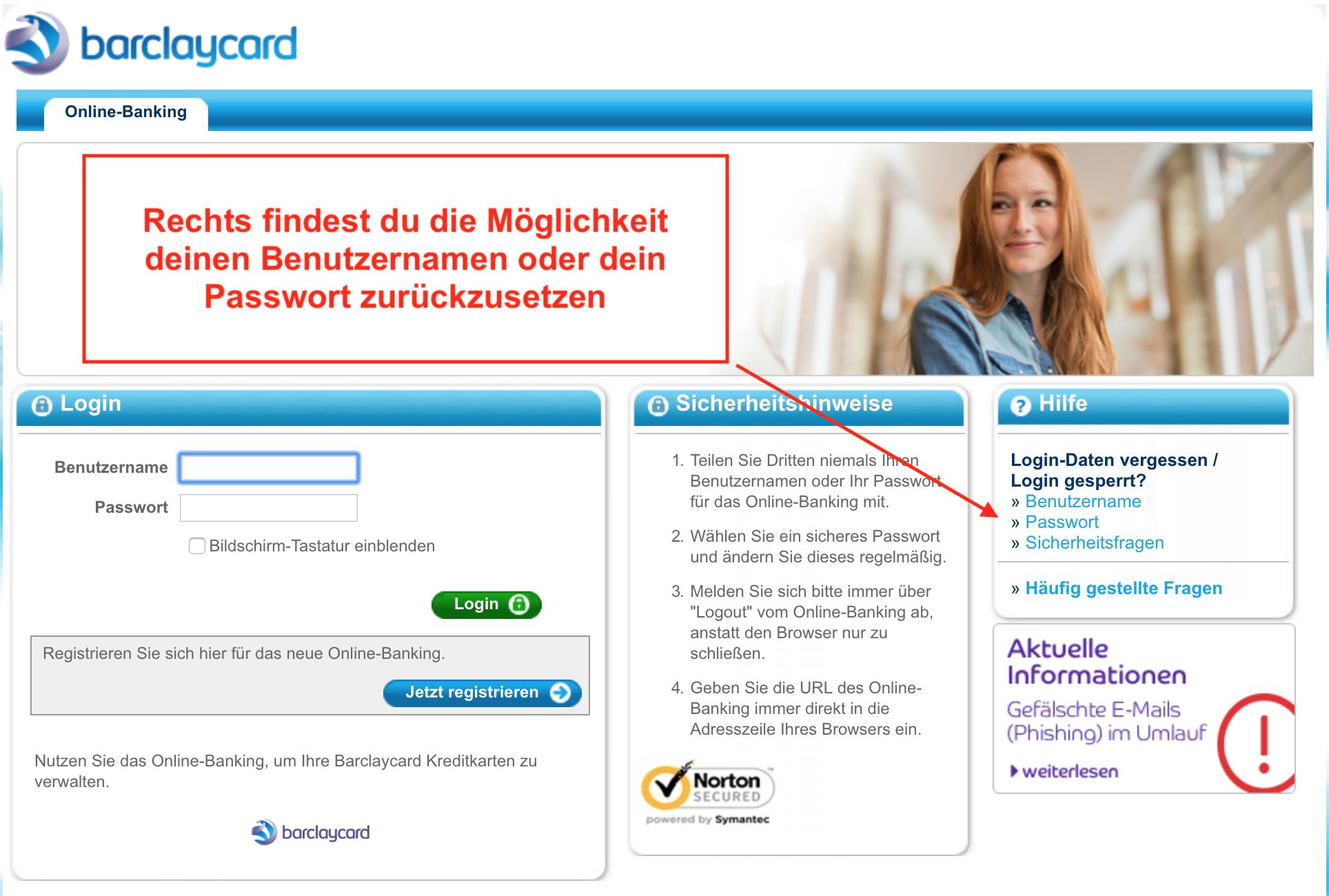 barclaycard Passwort vergessen