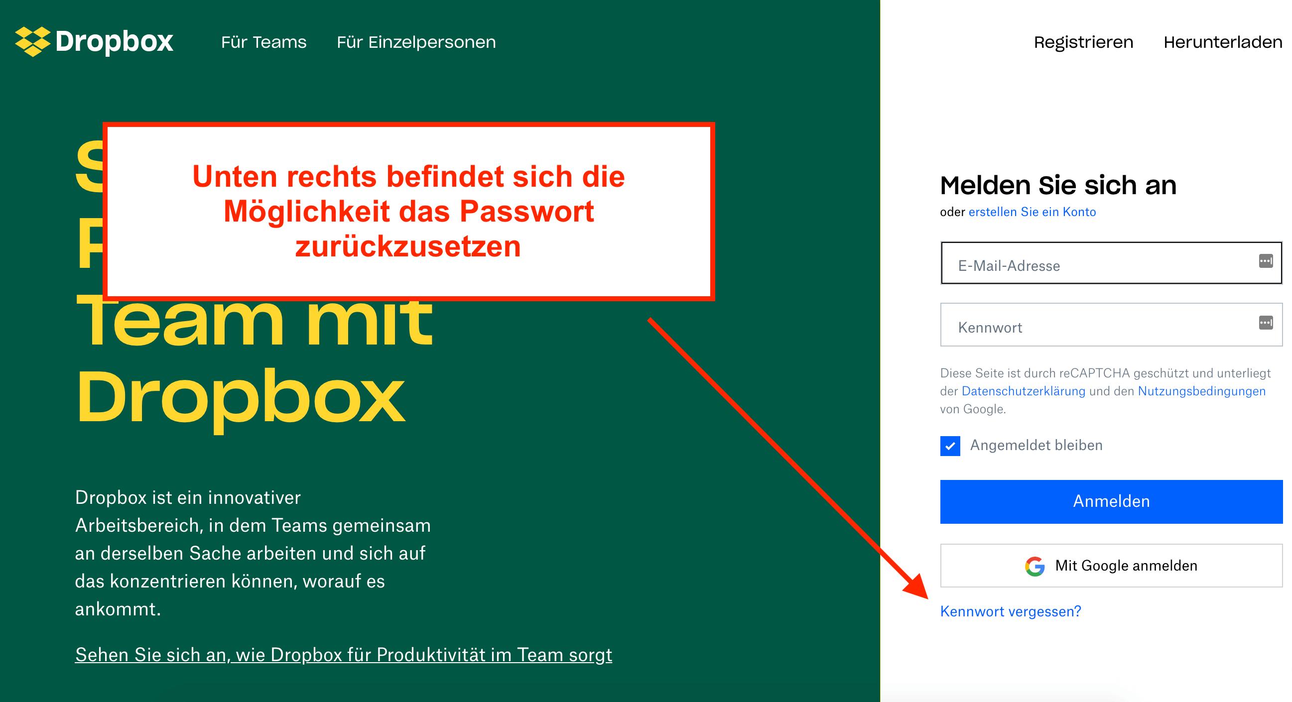 Dropbox Passwort vergessen