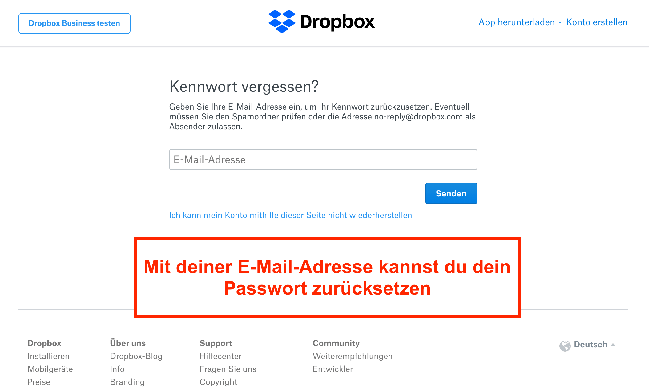 Dropbox Passwort zurücksetzen
