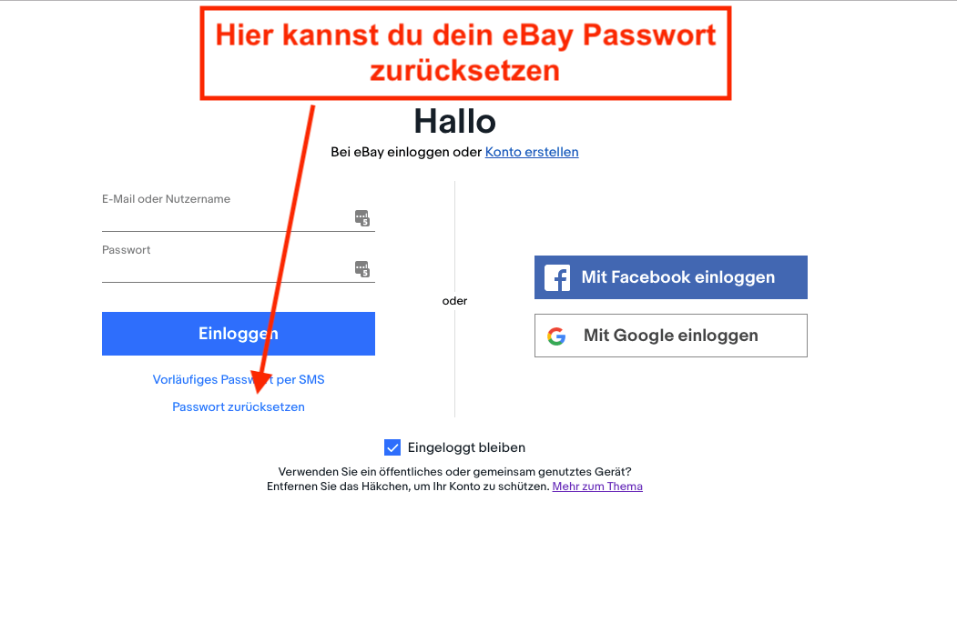 eBay Passwort vergessen