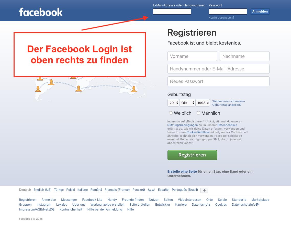Facebook Login oben rechts