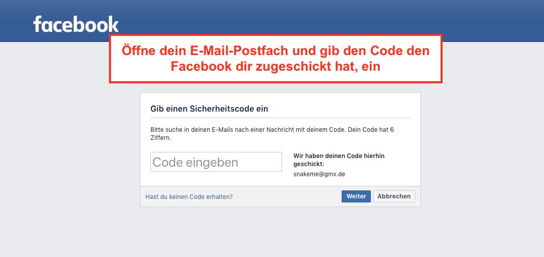 Facebook Sicherheitscode eingeben
