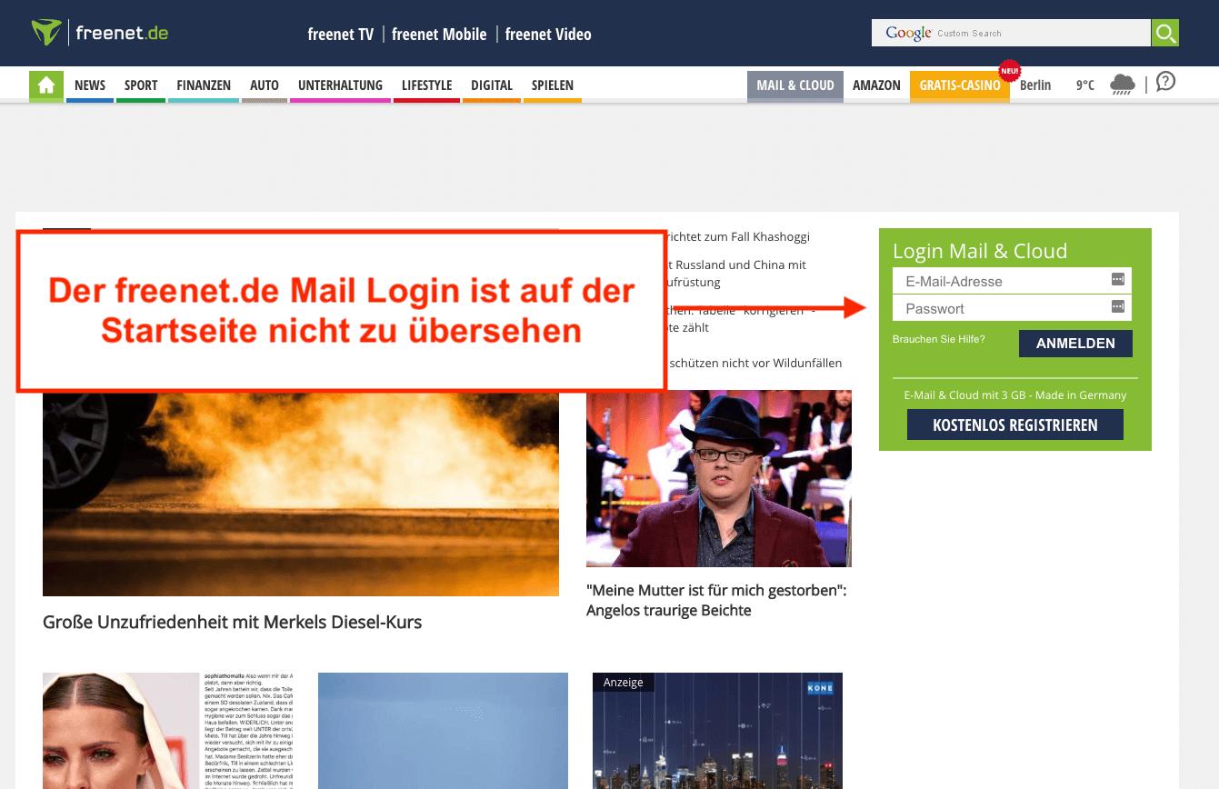 Freenet.de Mail Login auf Startseite