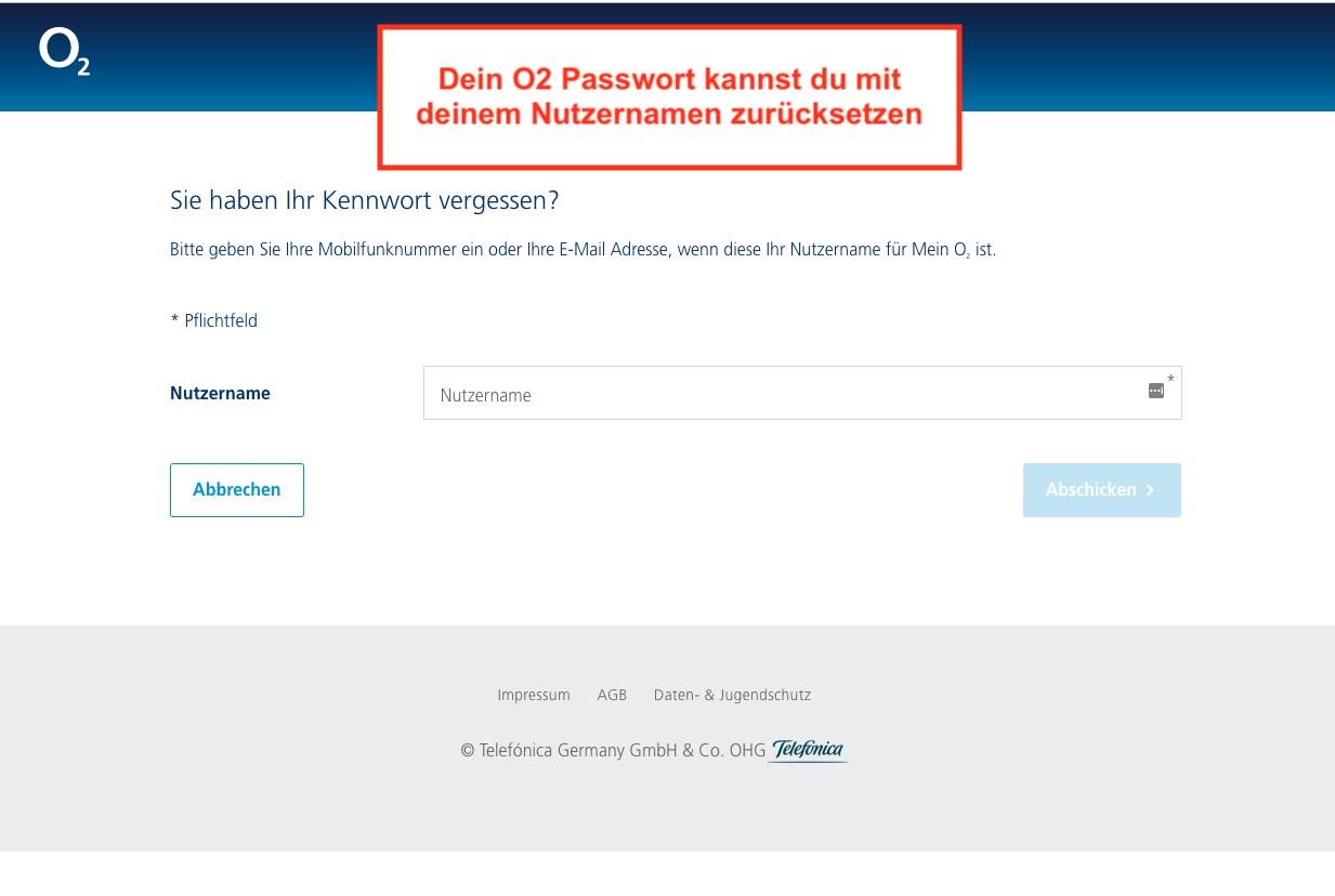 O2 Login Passwort vergessen
