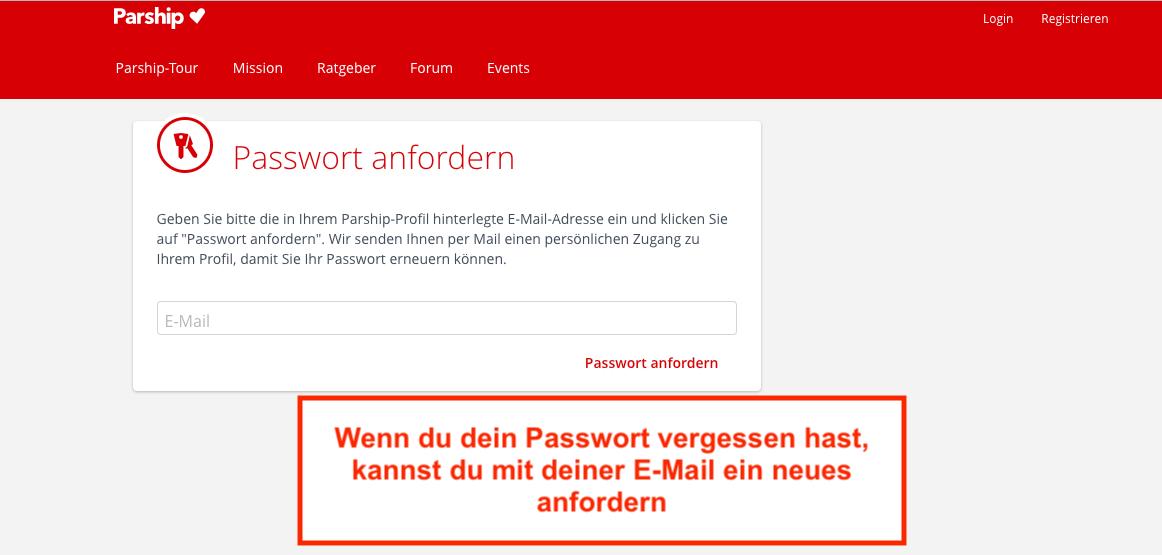 Parship Passwort vergessen