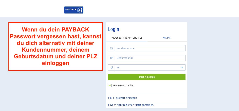 PAYBACK Passwort vergessen