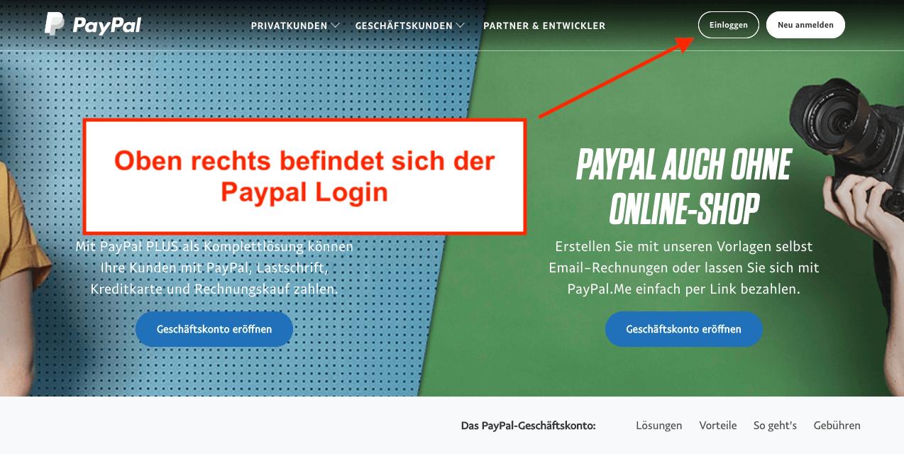 Paypal Login Startseite