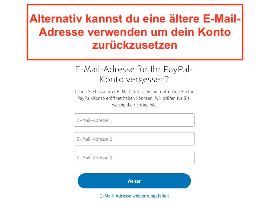 Paypal Passwort vergessen Schritt 2