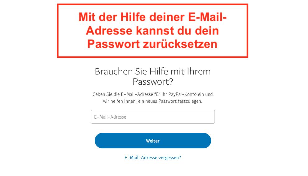 Paypal Passwort vergessen Schritt 1