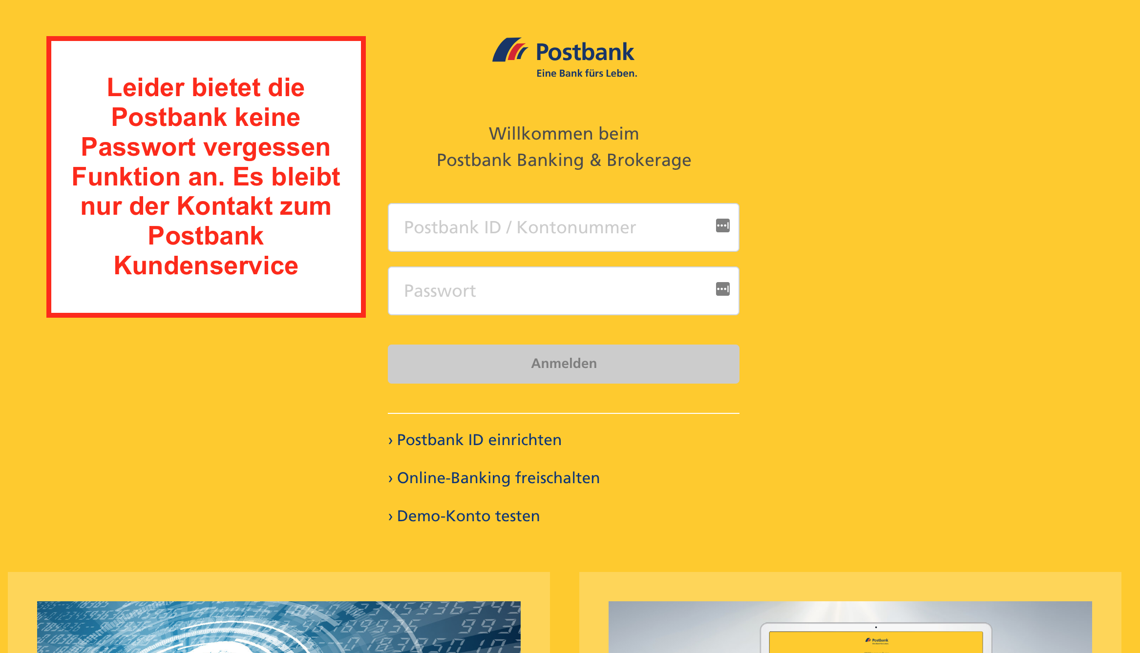 Postbank Passwort vergessen