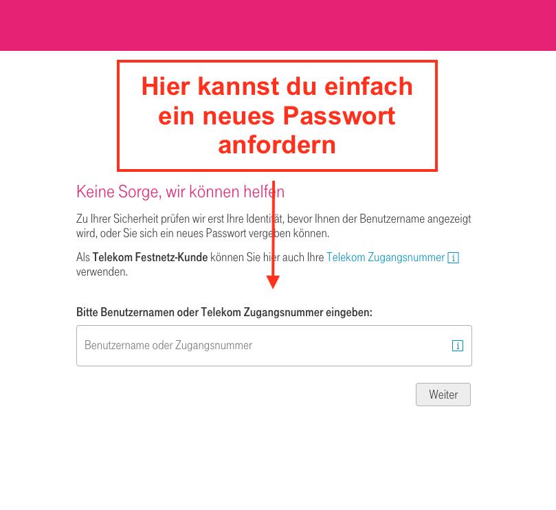 T-Online Passwort vergessen