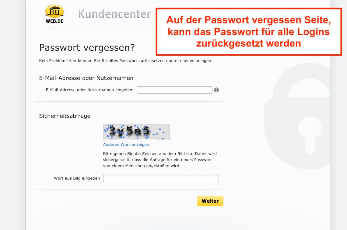 Web.de Passwort vergessen