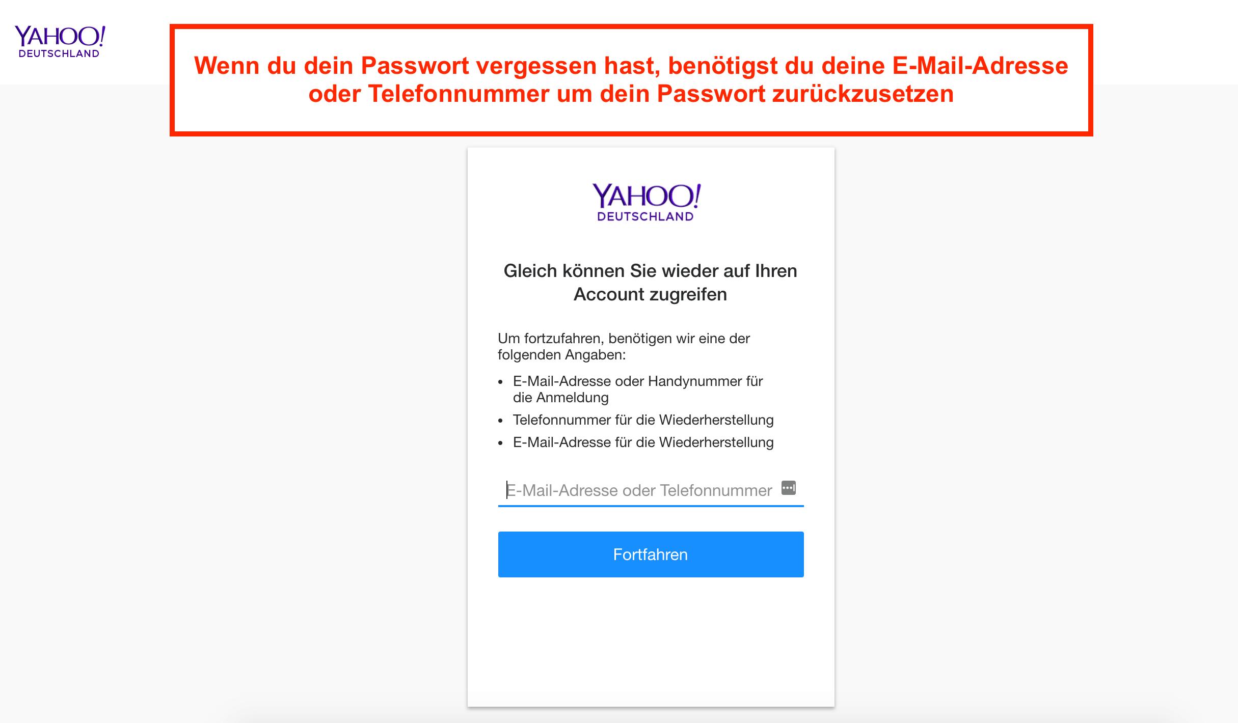 Yahoo Mail Passwort zurücksetzen