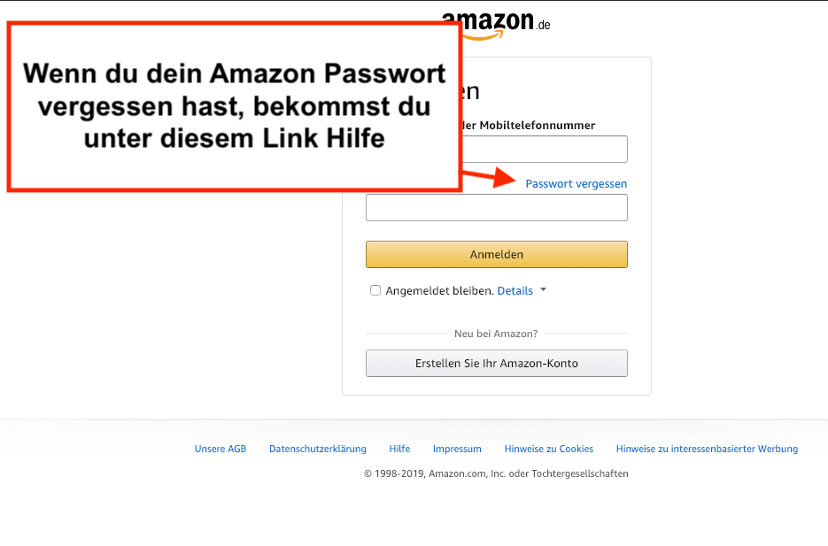 Amazon Login Passwort vergessen