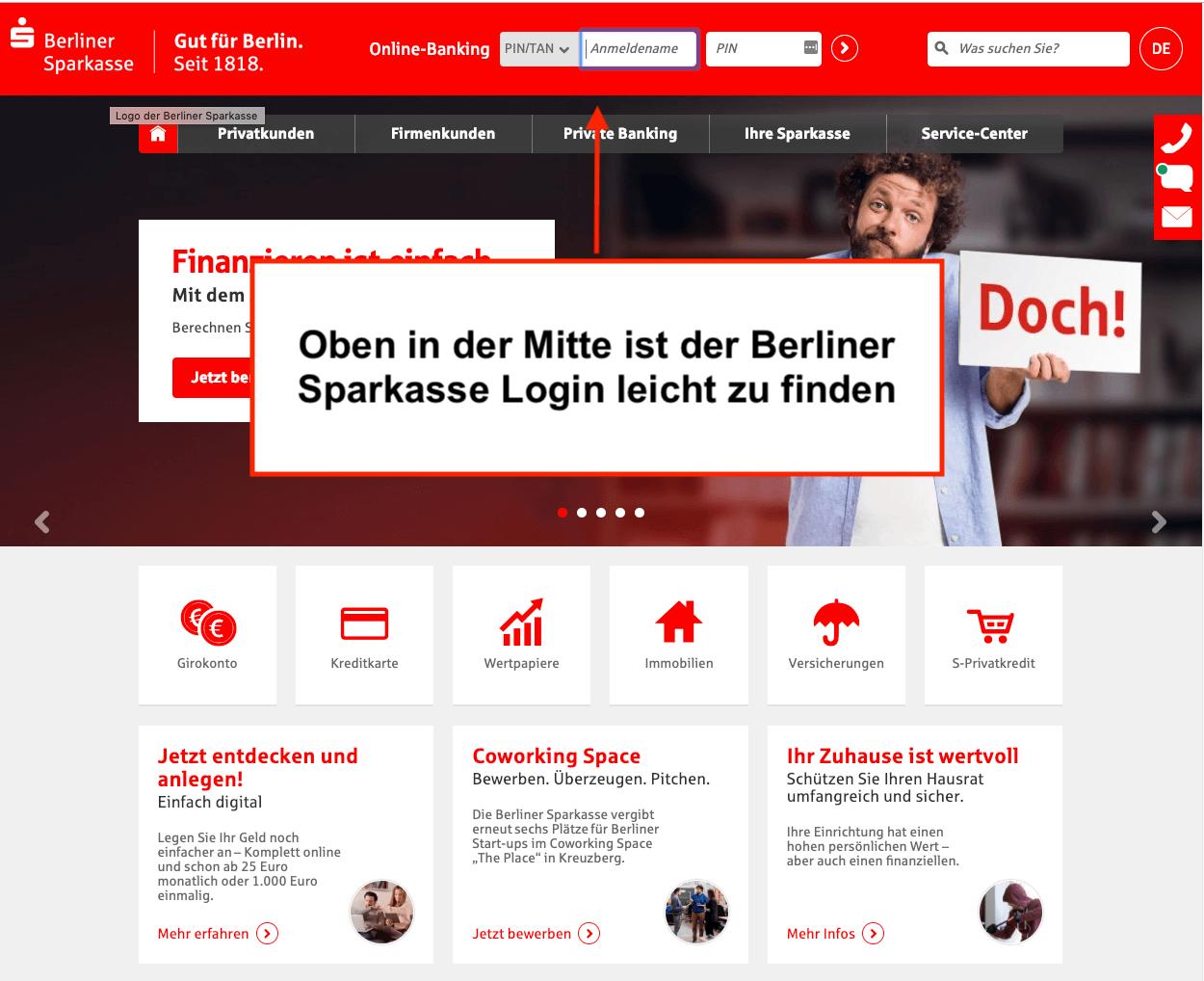 Berliner Sparkasse Online-Banking Login