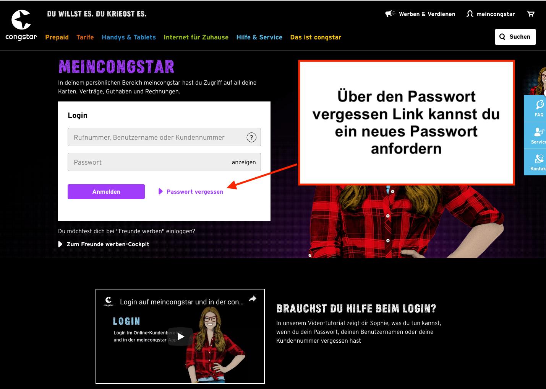 congstar Passwort vergessen