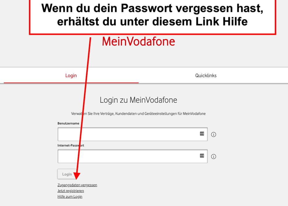 Vodafone Login Passwort vergessen