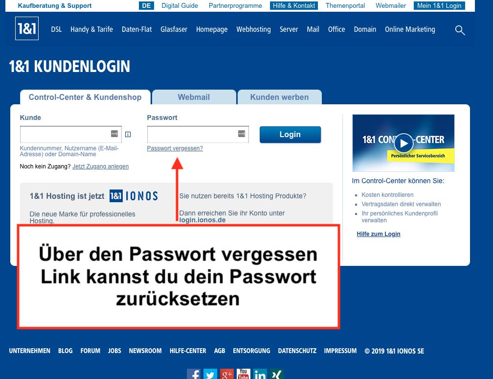 1&1 Passwort zurücksetzen