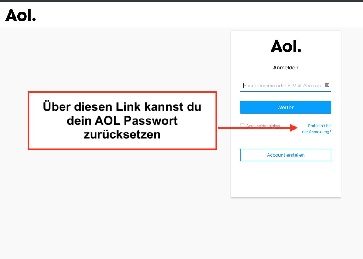 AOL zum Passwort zurücksetzen