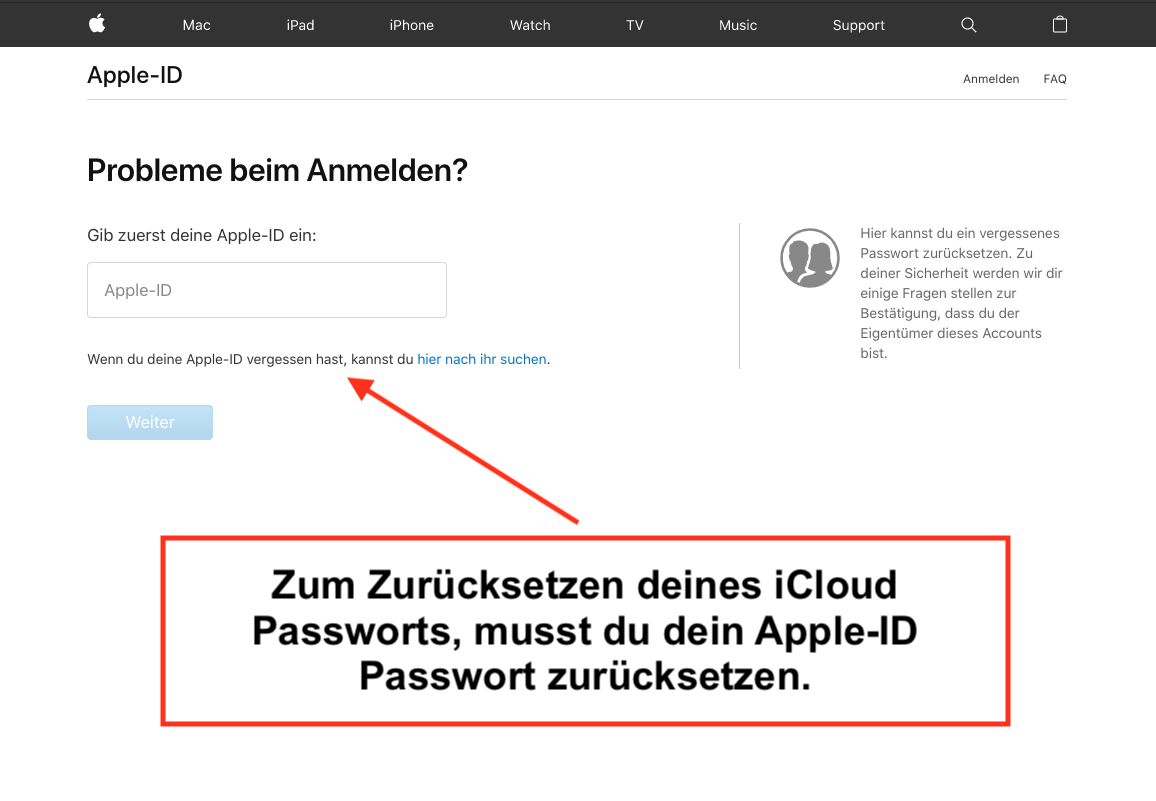 iCloud Passwort zurücksetzen