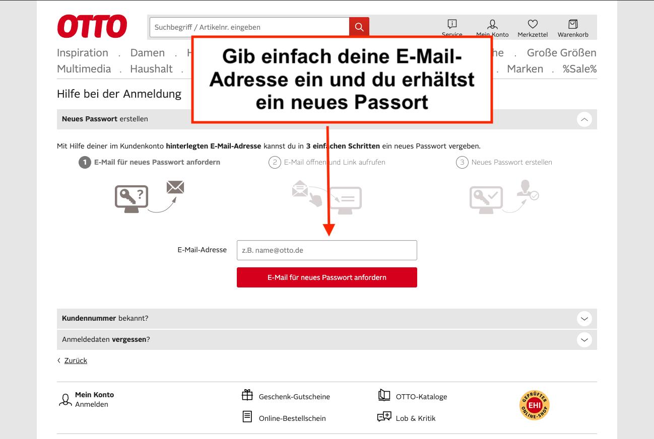 OTTO.de neues Passwort anfordern