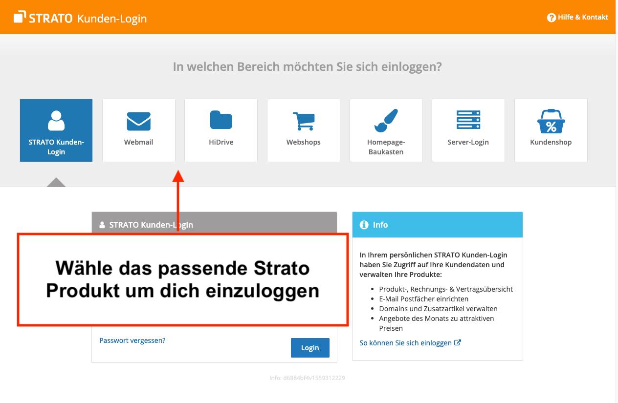 Strato Login für HiDrive, Webmail und Communicator