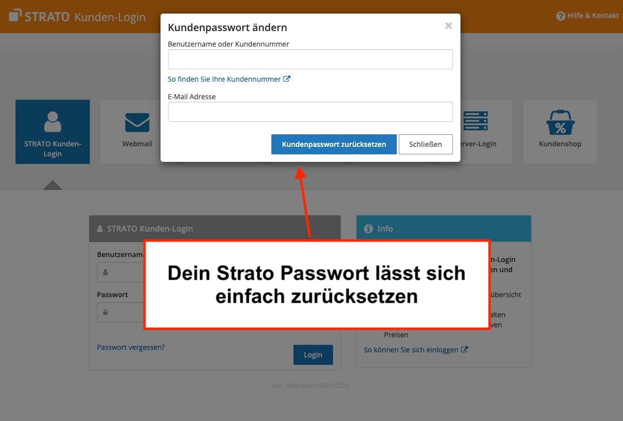 Strato Passwort zurücksetzen