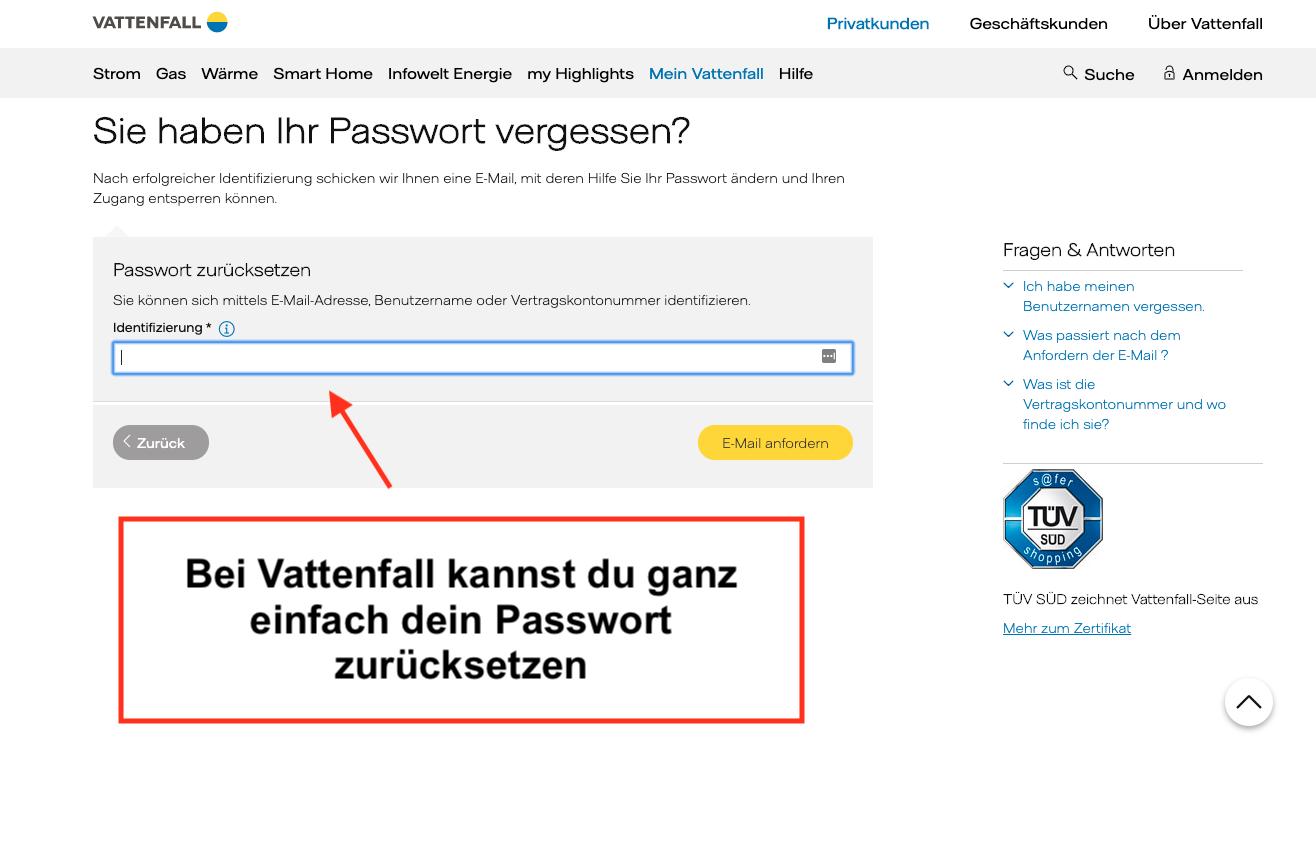 Vattenfall Passwort zurücksetzen