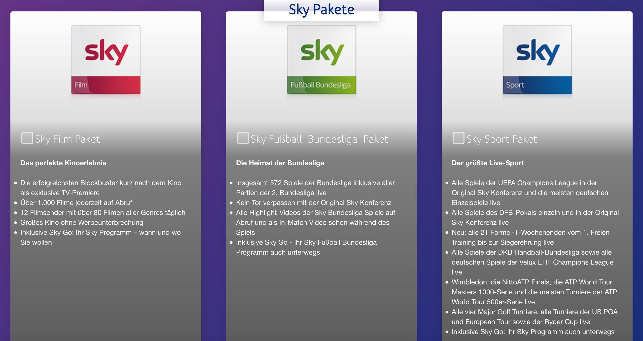Wähle auf der Unitymedia Sky-Seite dein gewünschtes Sky Paket - oder kombiniere