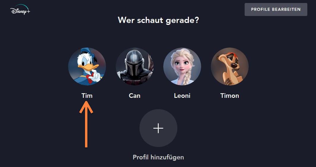 Disney kündigen Benutzerprofil auswählen