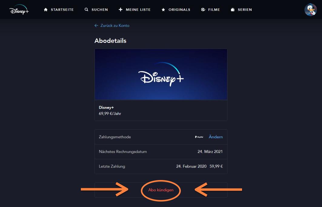 Disney+ Abo kündigen