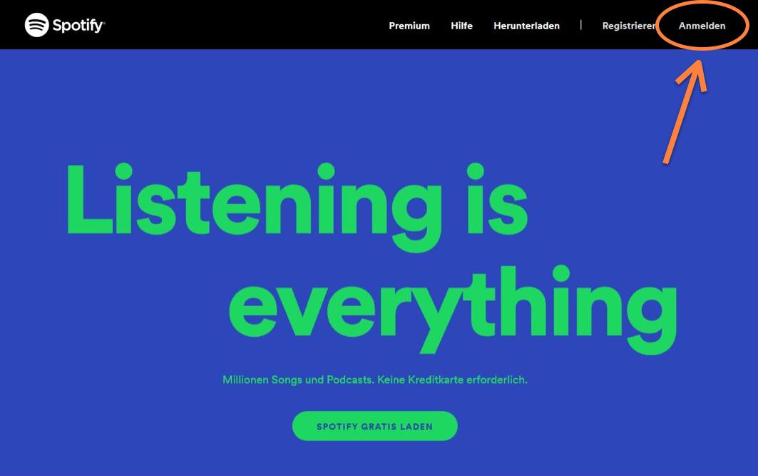Spotify Konto anmelden