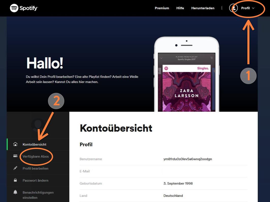 Spotify kündigen - Profil und Abos