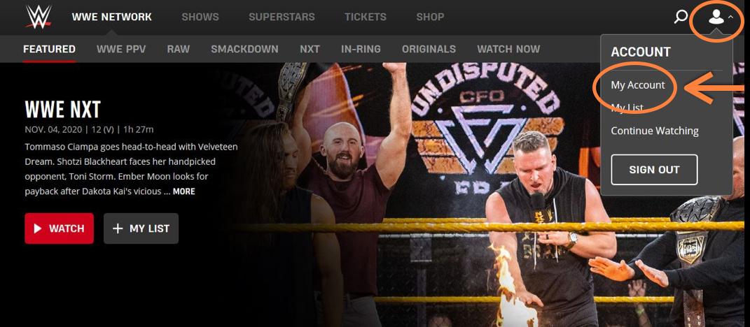 WWE Network Account verwalten
