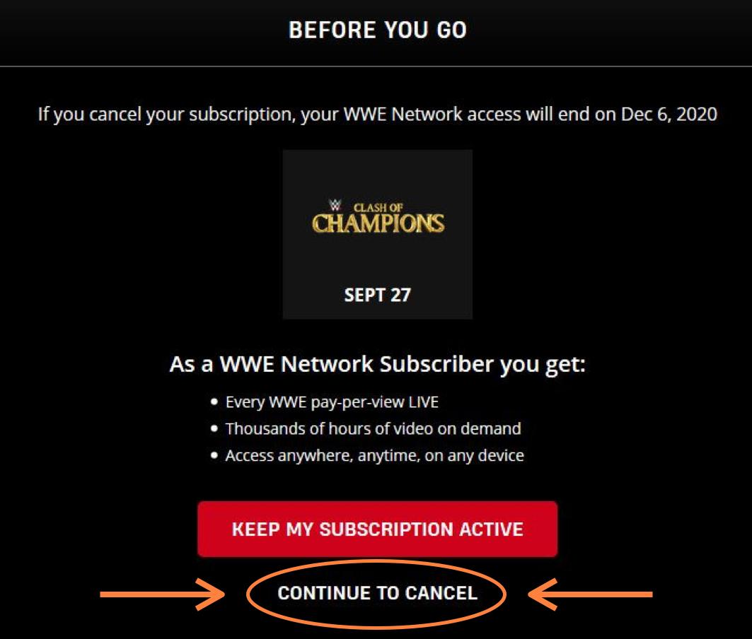 WWE Network Kündigung bestätigen