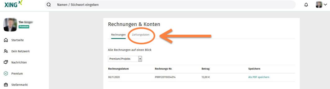 XING Premium Zahlungsdaten aufrufen