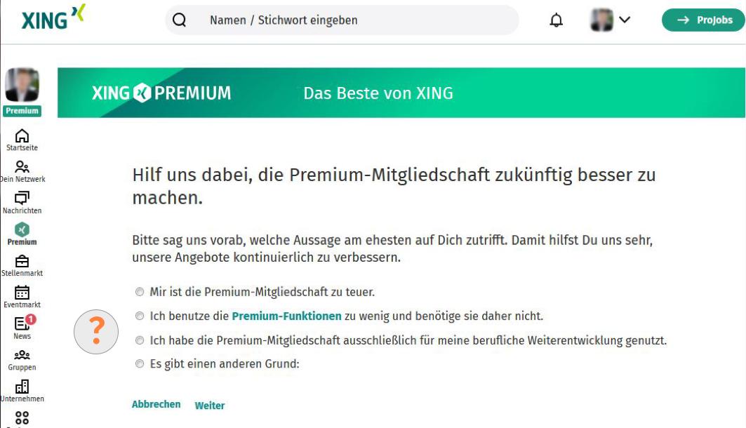 XING Premium Kündigungsgrund angeben