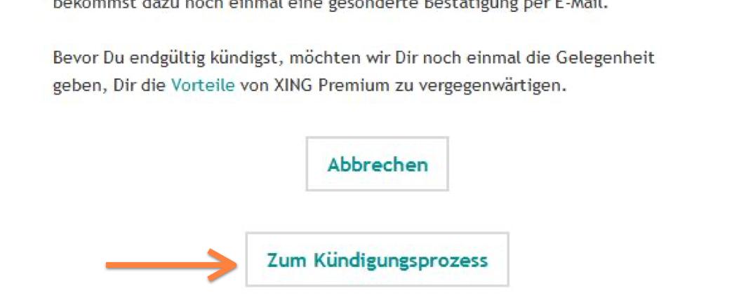 XING Premium Kündigung in der E-Mail bestätigen