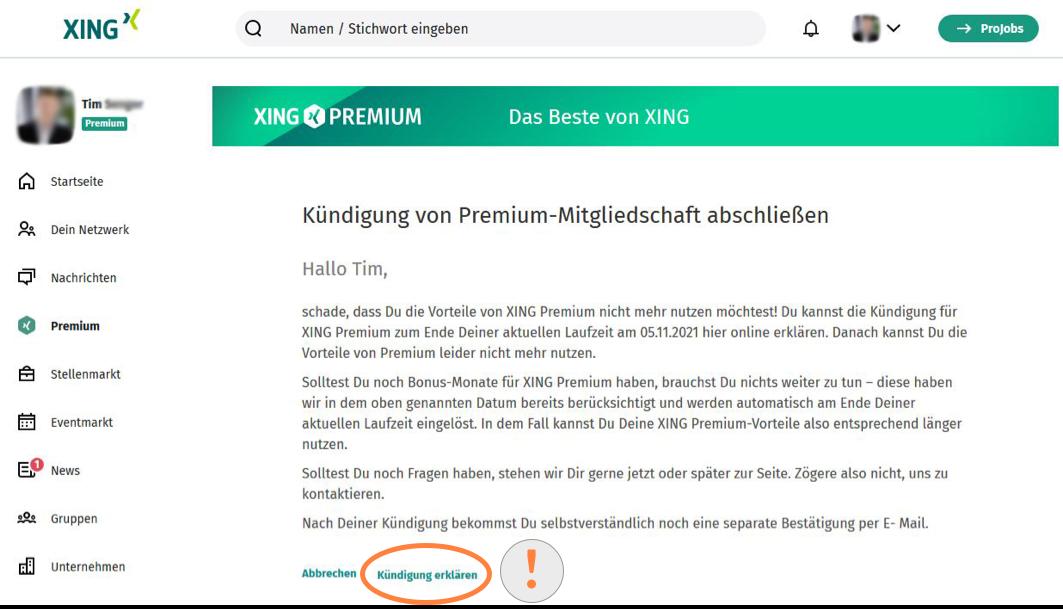 XING Premium Kündigung abschließen