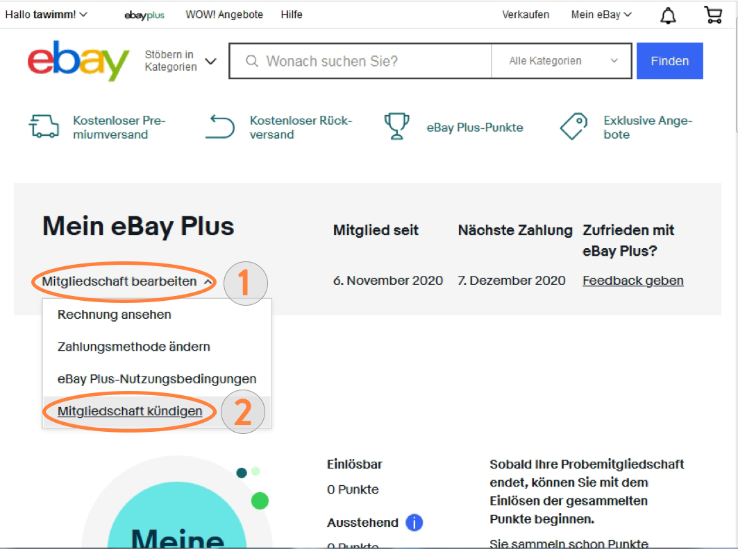 eBay Plus Mitgliedschaft bearbeiten und kündigen