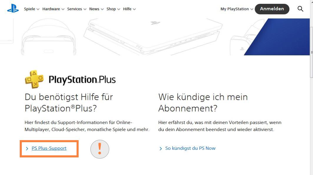 Playstation Plus Support öffnen