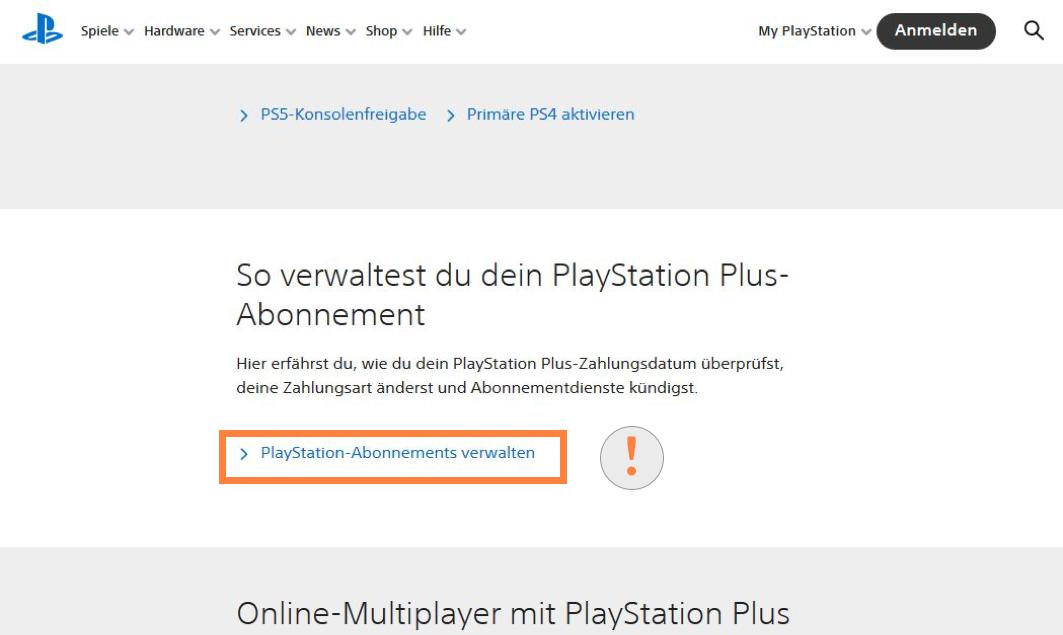 Playstation Plus Abonnements verwalten