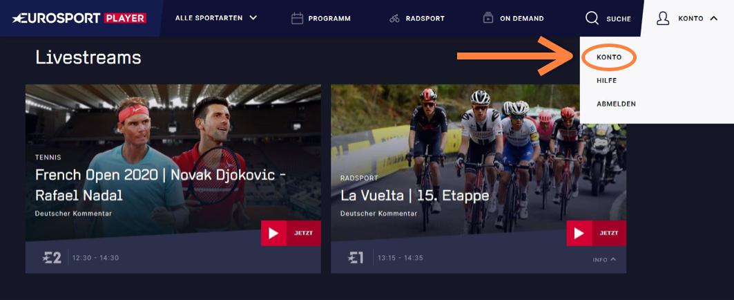 Eurosport Player Kündigung Konto verwalten