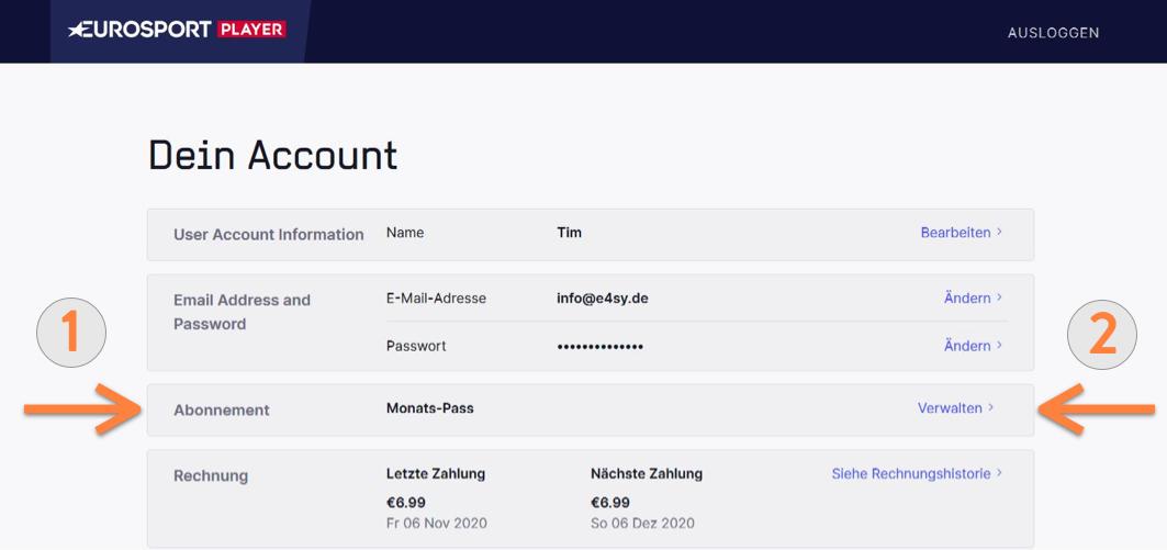 Eurosport Player Kündigung Abonnement verwalten