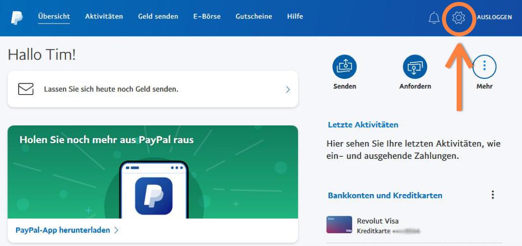 PayPal Einstellungen öffnen