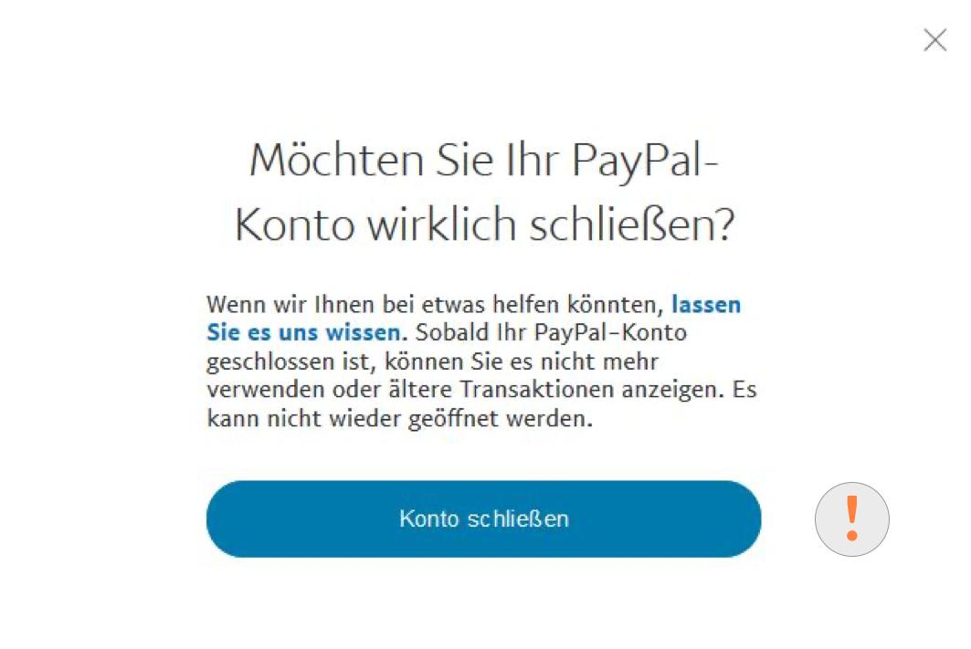 PayPal Kontoschließung bestätigen